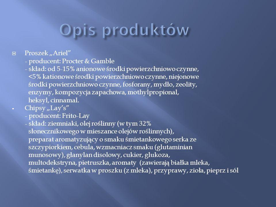 """Opis produktów Proszek """"Ariel - producent: Procter & Gamble"""