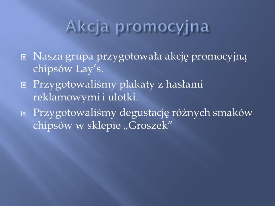 Akcja promocyjna Nasza grupa przygotowała akcję promocyjną chipsów Lay's. Przygotowaliśmy plakaty z hasłami reklamowymi i ulotki.