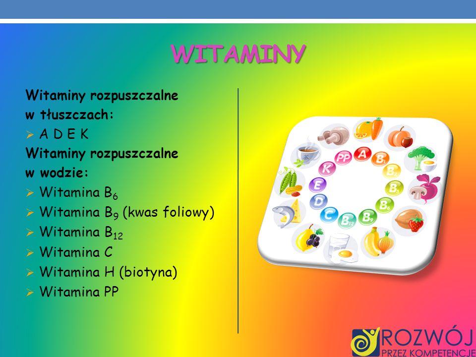 Witaminy Witamina B9 (kwas foliowy) Witamina B12 Witamina C