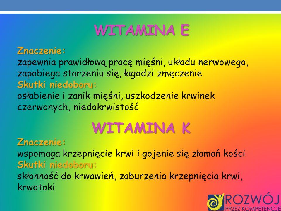 Witamina e WITAMINA K Znaczenie: