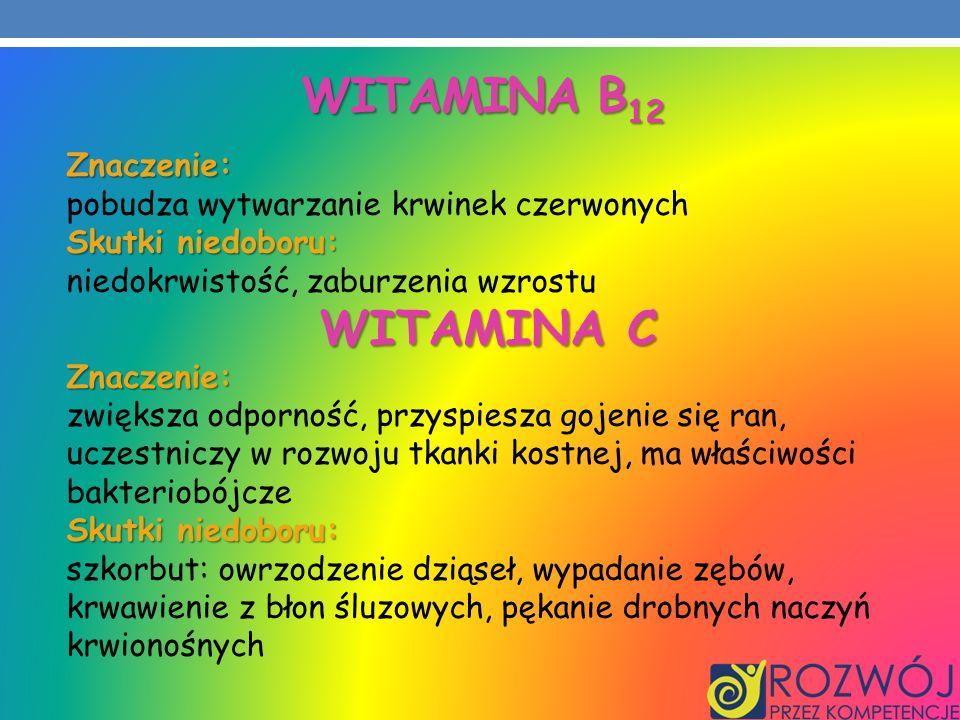 Witamina B12 WITAMINA C Znaczenie:
