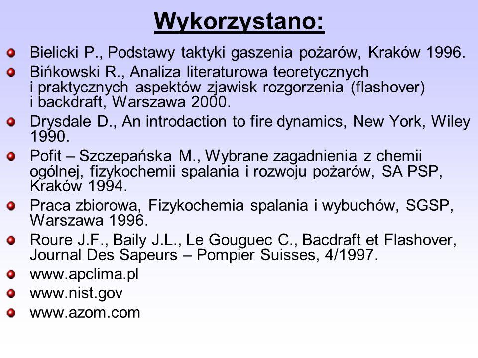 Wykorzystano:Bielicki P., Podstawy taktyki gaszenia pożarów, Kraków 1996.