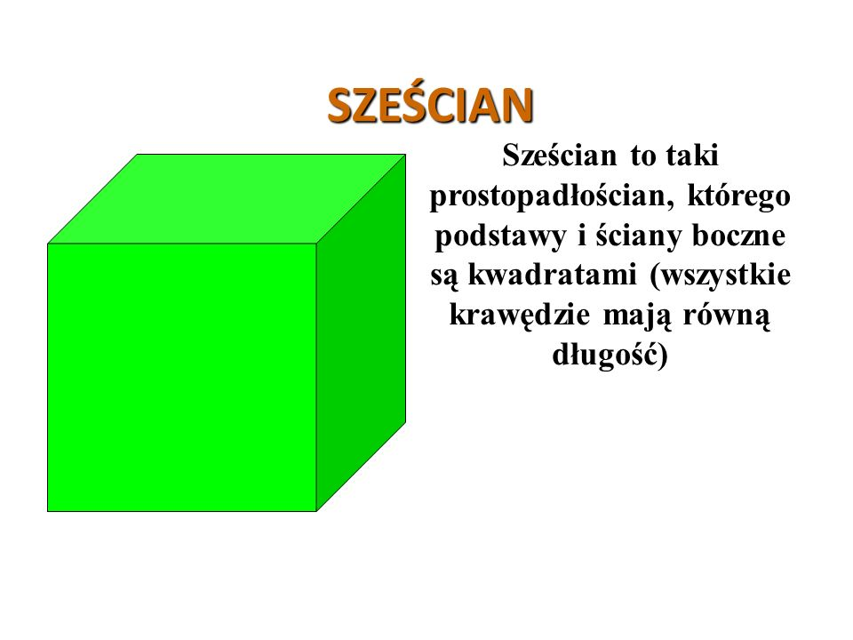 SZEŚCIAN Sześcian to taki prostopadłościan, którego podstawy i ściany boczne są kwadratami (wszystkie krawędzie mają równą długość)
