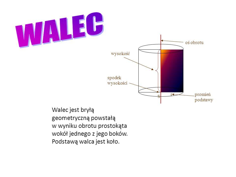 WALEC oś obrotu. wysokość. spodek wysokości. r. promień podstawy. S.
