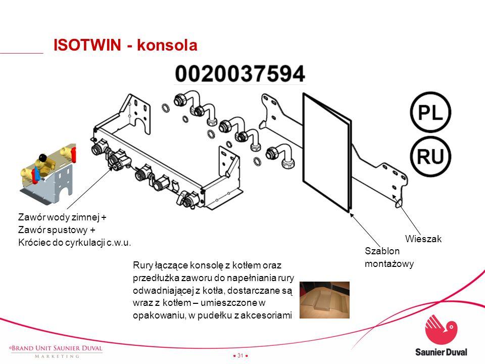 ISOTWIN - konsola Zawór wody zimnej + Zawór spustowy + Króciec do cyrkulacji c.w.u. Wieszak. Szablon montażowy.