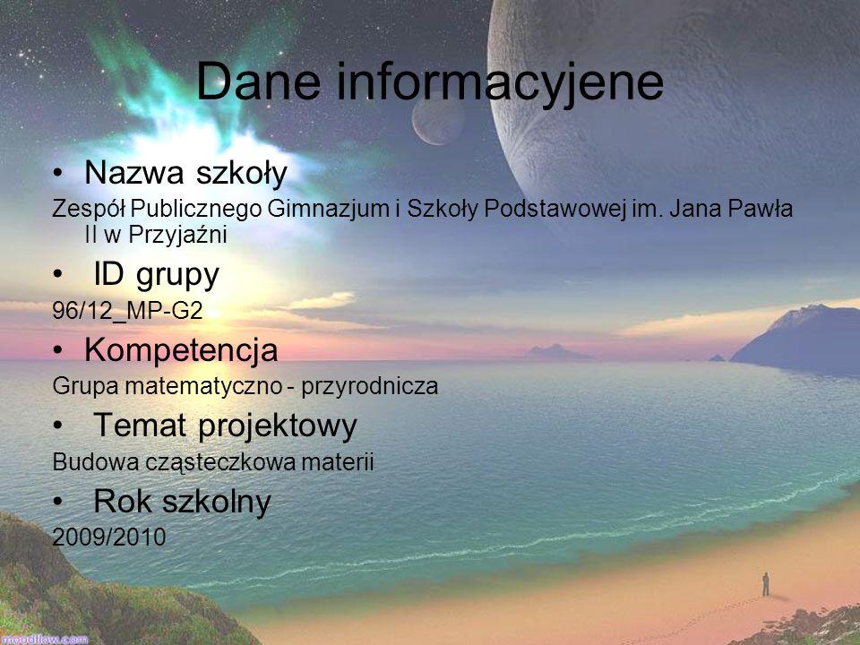 Dane informacyjene Nazwa szkoły ID grupy Kompetencja Temat projektowy