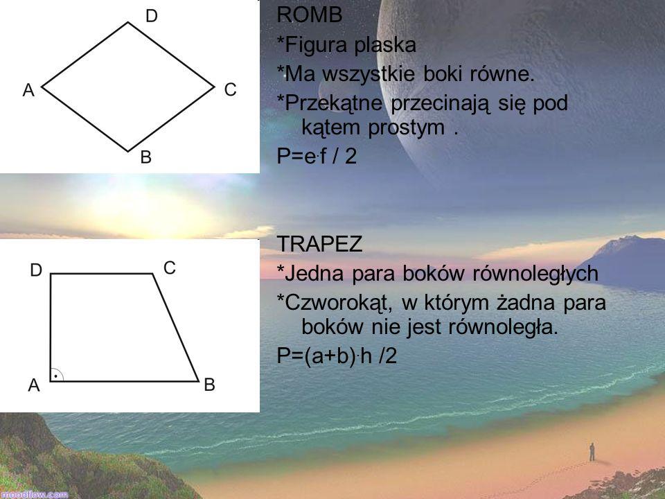 ROMB *Figura plaska. *Ma wszystkie boki równe. *Przekątne przecinają się pod kątem prostym . P=e.f / 2.