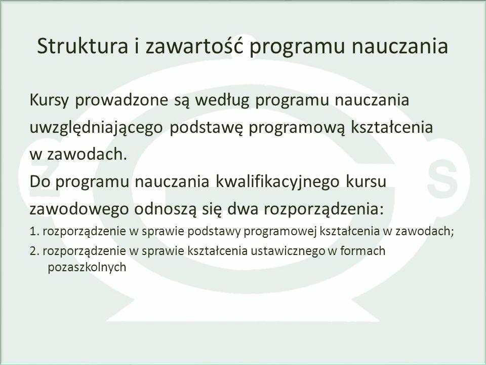 Struktura i zawartość programu nauczania