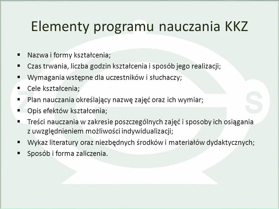 Elementy programu nauczania KKZ