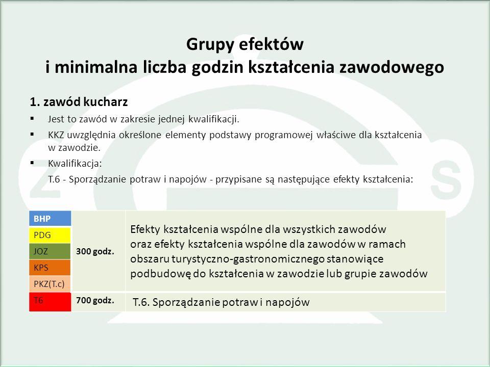 Grupy efektów i minimalna liczba godzin kształcenia zawodowego
