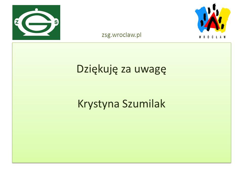 Dziękuję za uwagę Krystyna Szumilak