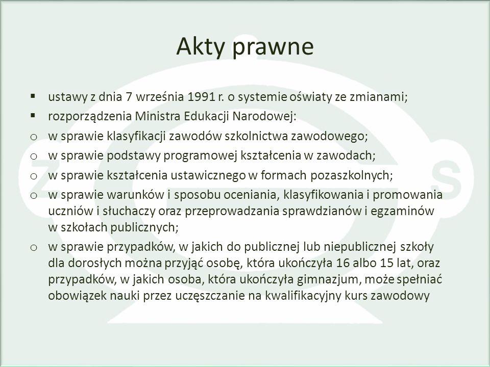 Akty prawne ustawy z dnia 7 września 1991 r. o systemie oświaty ze zmianami; rozporządzenia Ministra Edukacji Narodowej: