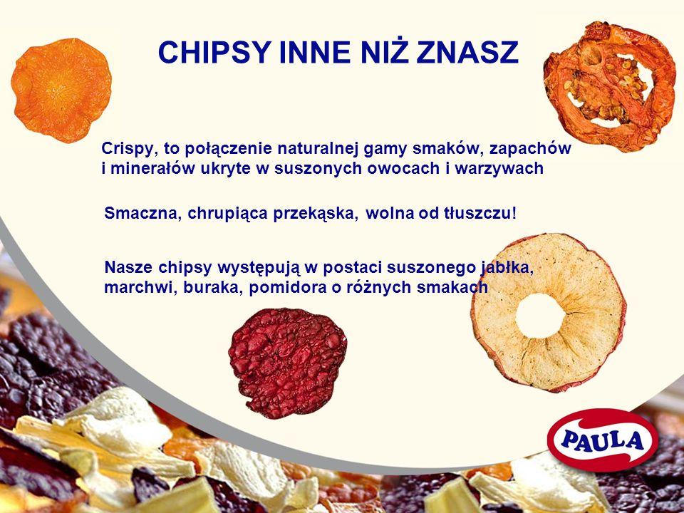 CHIPSY INNE NIŻ ZNASZ Crispy, to połączenie naturalnej gamy smaków, zapachów. i minerałów ukryte w suszonych owocach i warzywach.