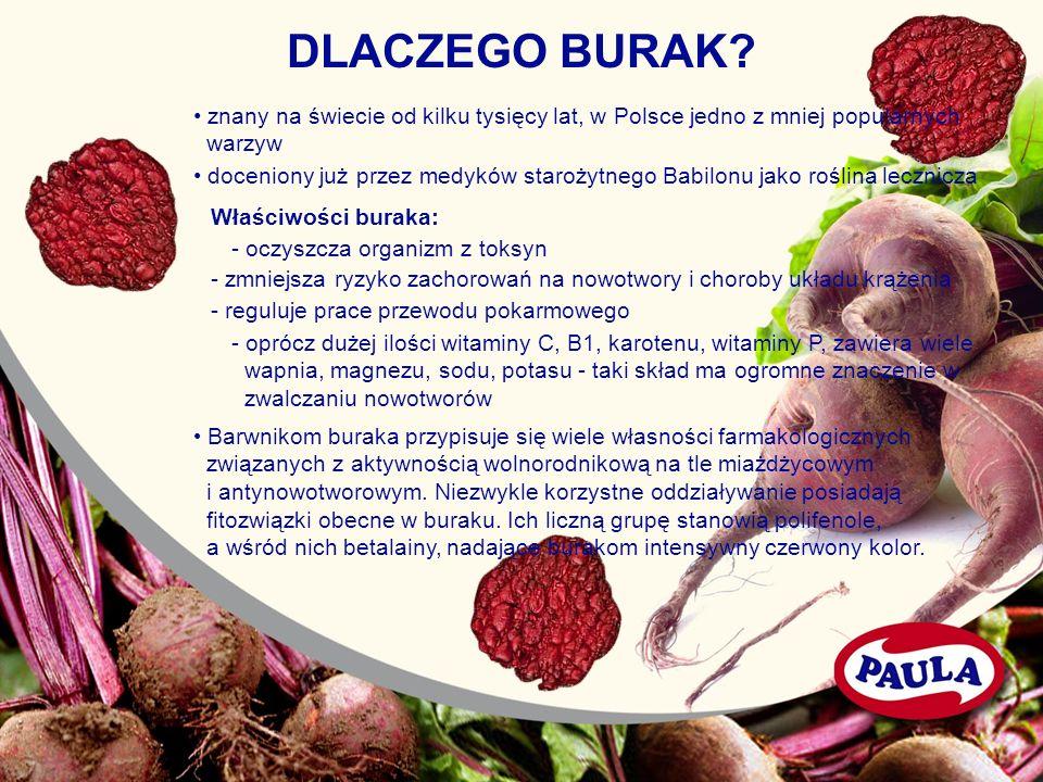 DLACZEGO BURAK • znany na świecie od kilku tysięcy lat, w Polsce jedno z mniej popularnych. warzyw.
