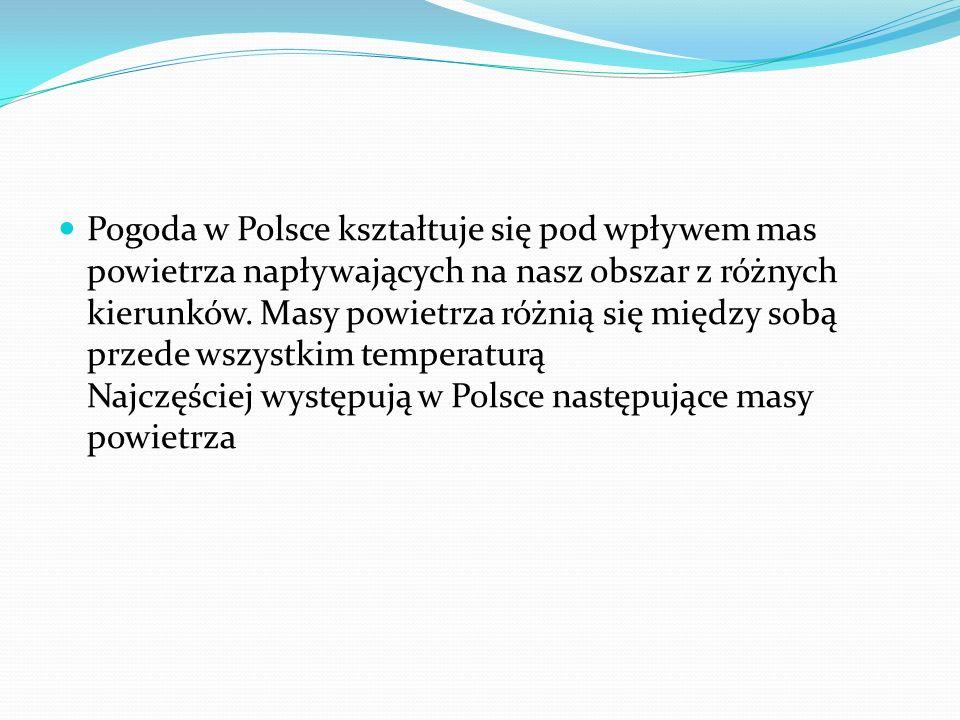 Pogoda w Polsce kształtuje się pod wpływem mas powietrza napływających na nasz obszar z różnych kierunków.