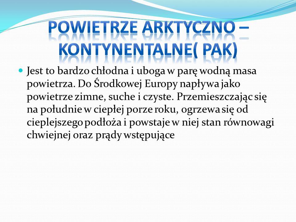 Powietrze arktyczno –kontynentalne( Pak)
