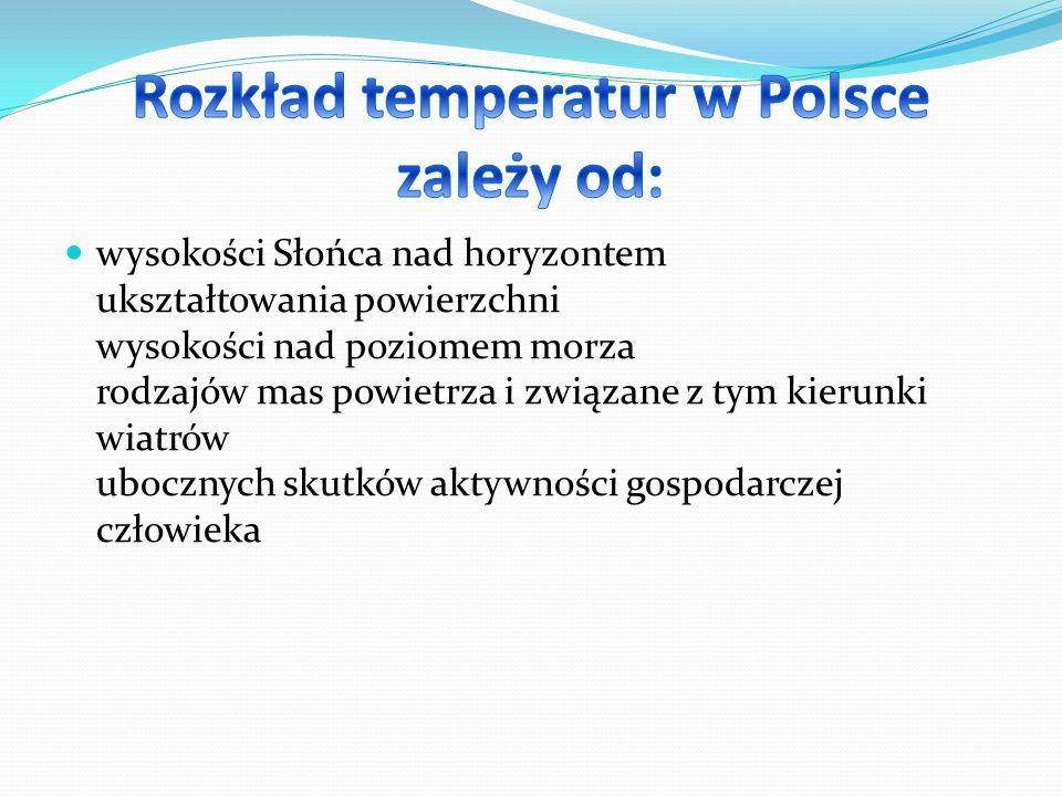 Rozkład temperatur w Polsce zależy od: