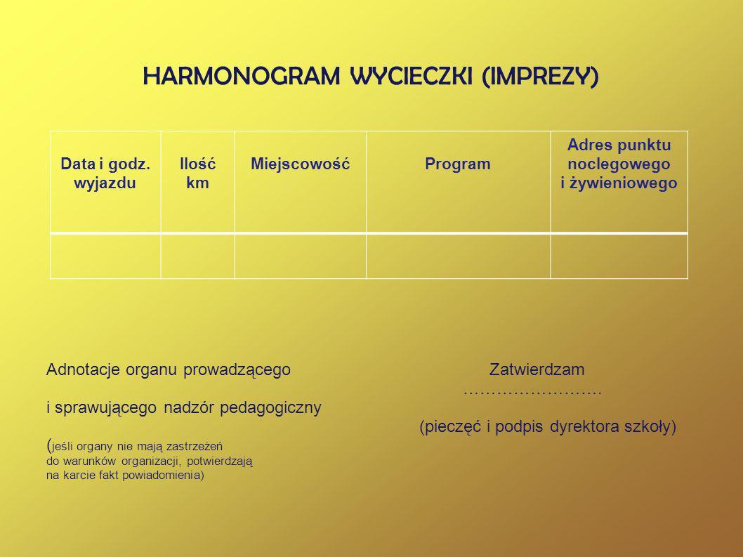 HARMONOGRAM WYCIECZKI (IMPREZY)