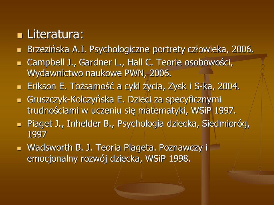 Literatura: Brzezińska A.I. Psychologiczne portrety człowieka, 2006.