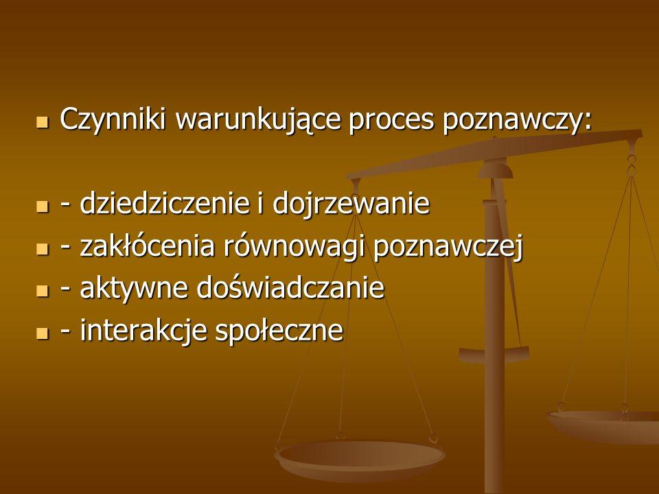 Czynniki warunkujące proces poznawczy: