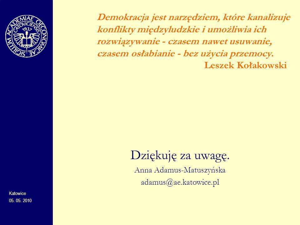 Dziękuję za uwagę. Anna Adamus-Matuszyńska adamus@ae.katowice.pl