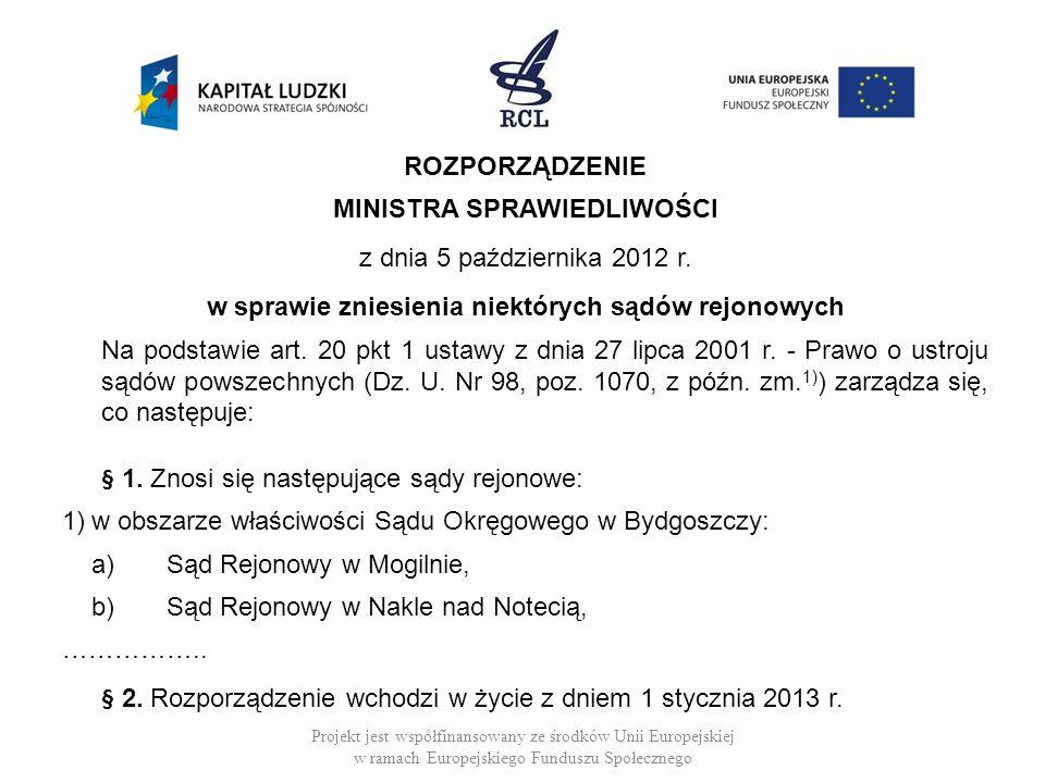 MINISTRA SPRAWIEDLIWOŚCI z dnia 5 października 2012 r.