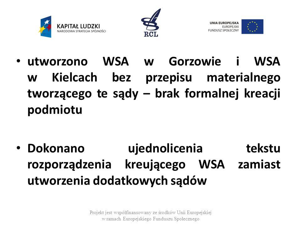 utworzono WSA w Gorzowie i WSA w Kielcach bez przepisu materialnego tworzącego te sądy – brak formalnej kreacji podmiotu