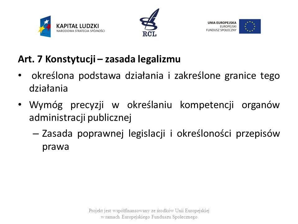 Art. 7 Konstytucji – zasada legalizmu