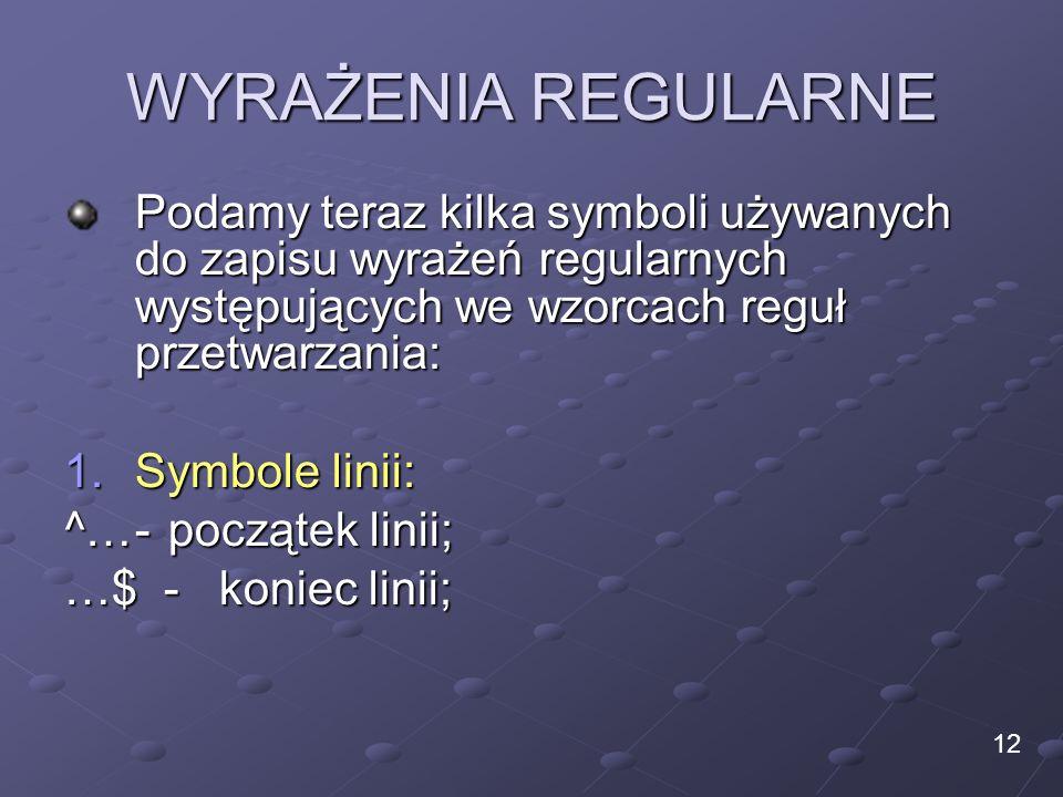 WYRAŻENIA REGULARNE Podamy teraz kilka symboli używanych do zapisu wyrażeń regularnych występujących we wzorcach reguł przetwarzania: