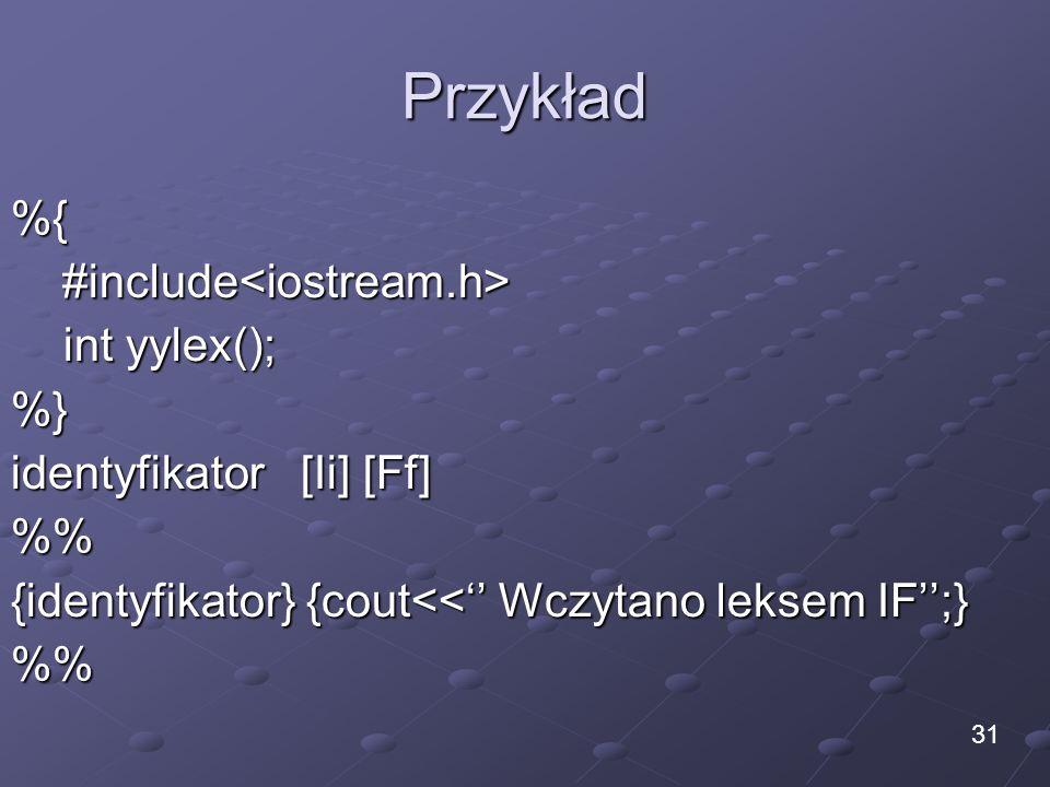 Przykład %{ #include<iostream.h> int yylex(); %}