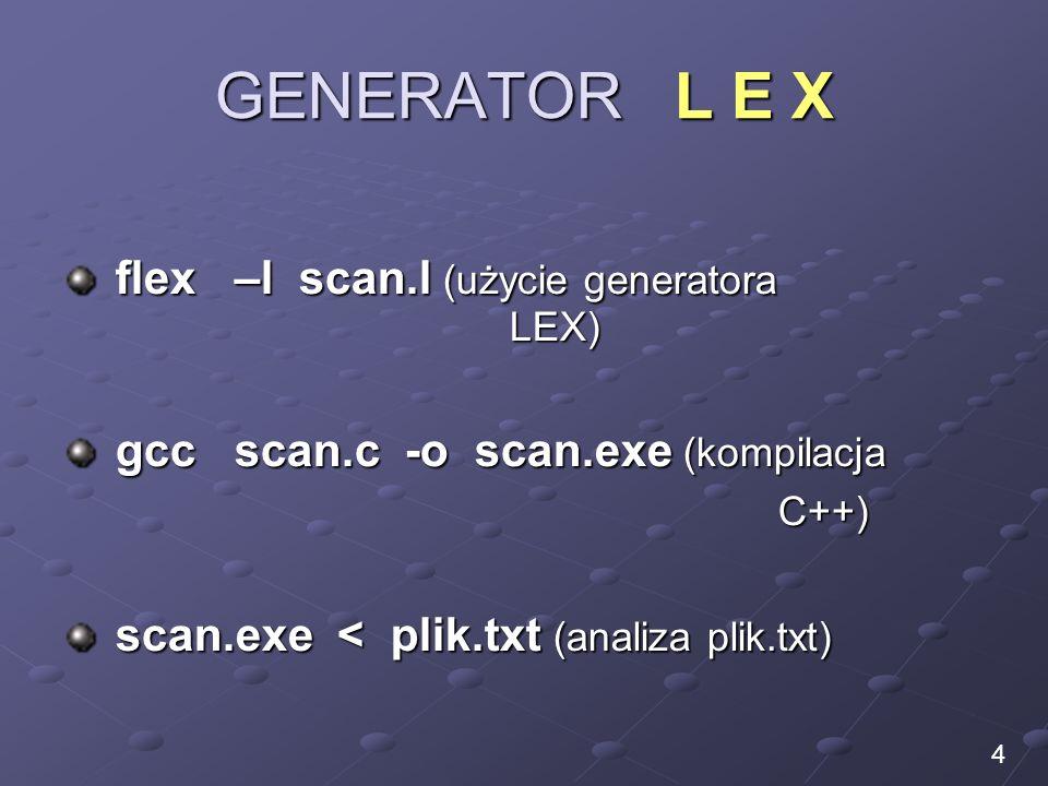 GENERATOR L E X flex –l scan.l (użycie generatora LEX)