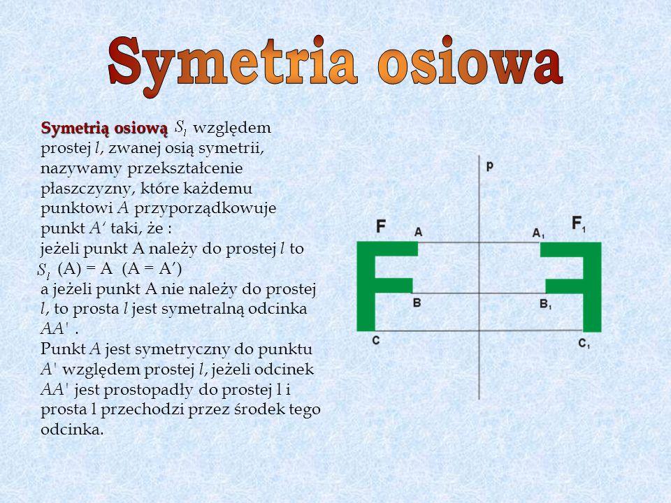 Symetria osiowa Symetrią osiową względem