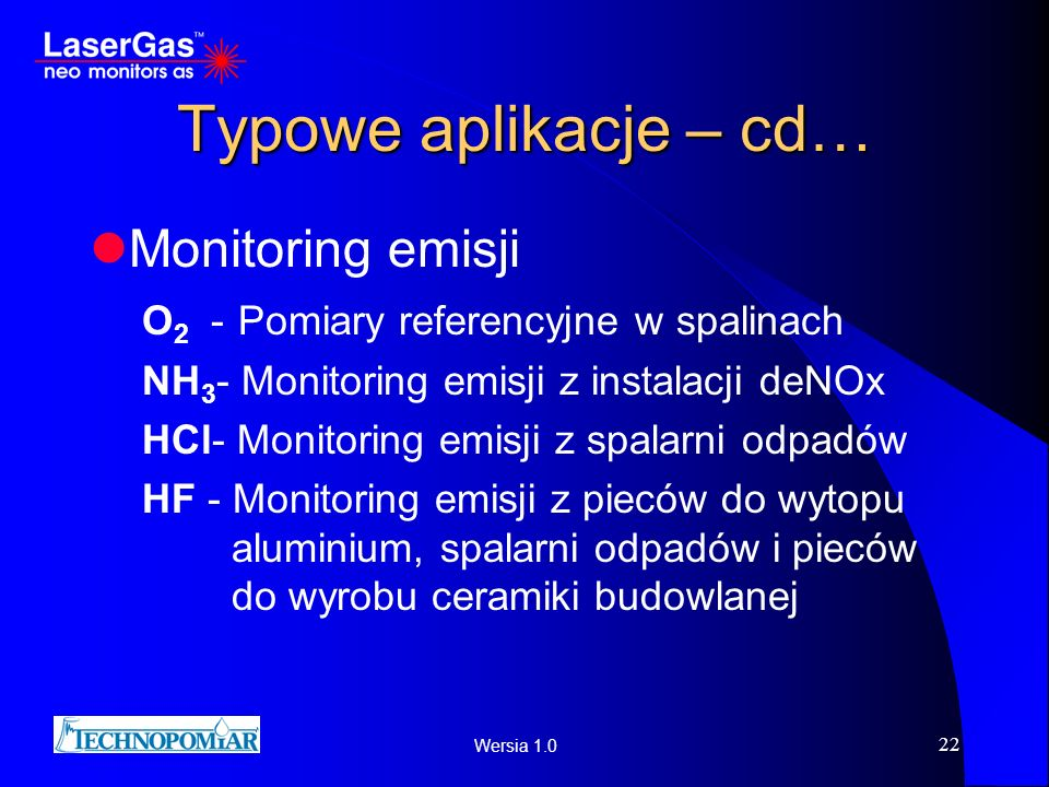 Typowe aplikacje – cd… Monitoring emisji