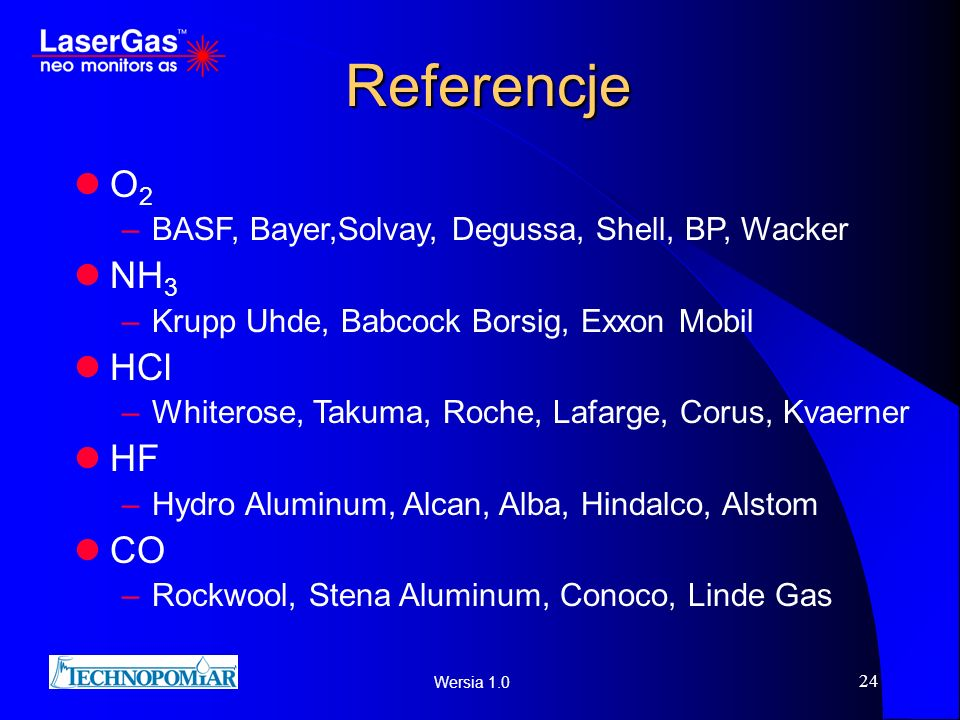 Referencje O2 NH3 HCl HF CO