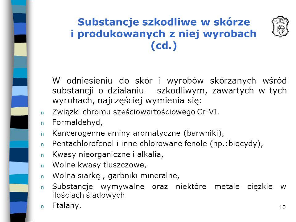 Substancje szkodliwe w skórze i produkowanych z niej wyrobach (cd.)
