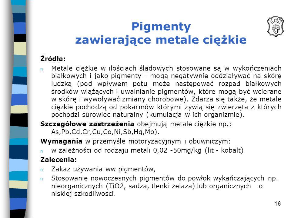 Pigmenty zawierające metale ciężkie