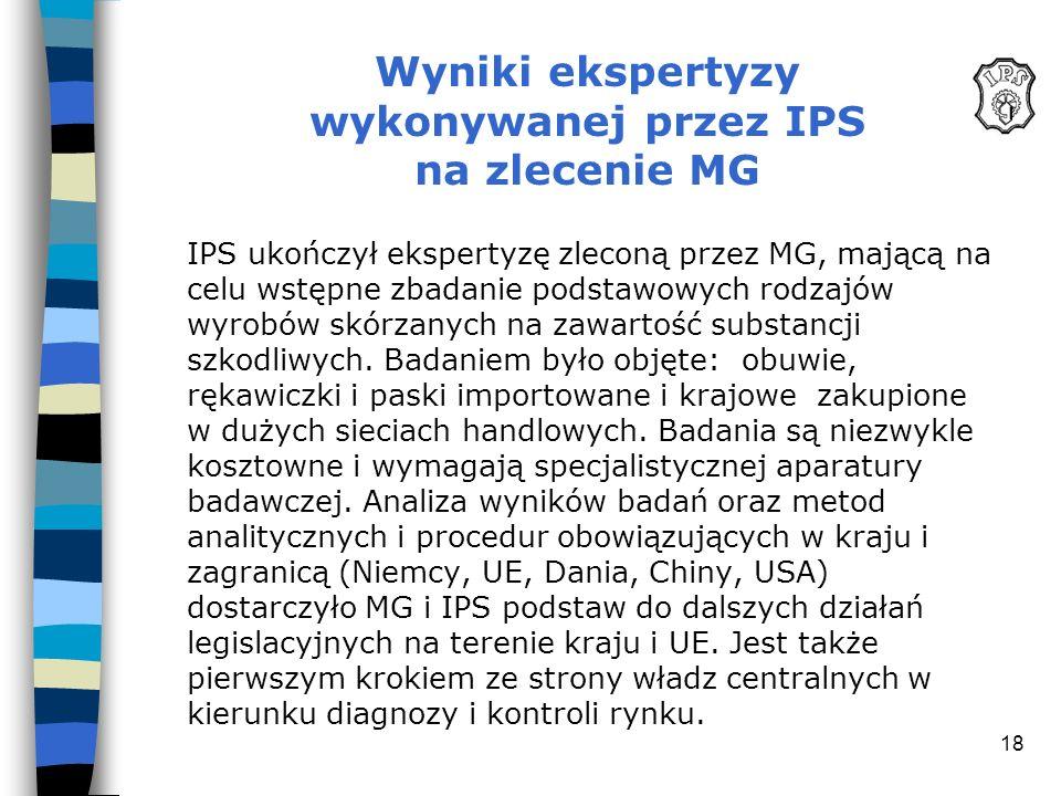 Wyniki ekspertyzy wykonywanej przez IPS na zlecenie MG