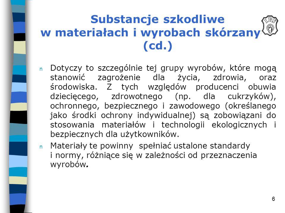Substancje szkodliwe w materiałach i wyrobach skórzanych (cd.)
