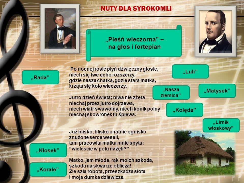 """NUTY DLA SYROKOMLI """"Pieśń wieczorna – na głos i fortepian """"Luli"""