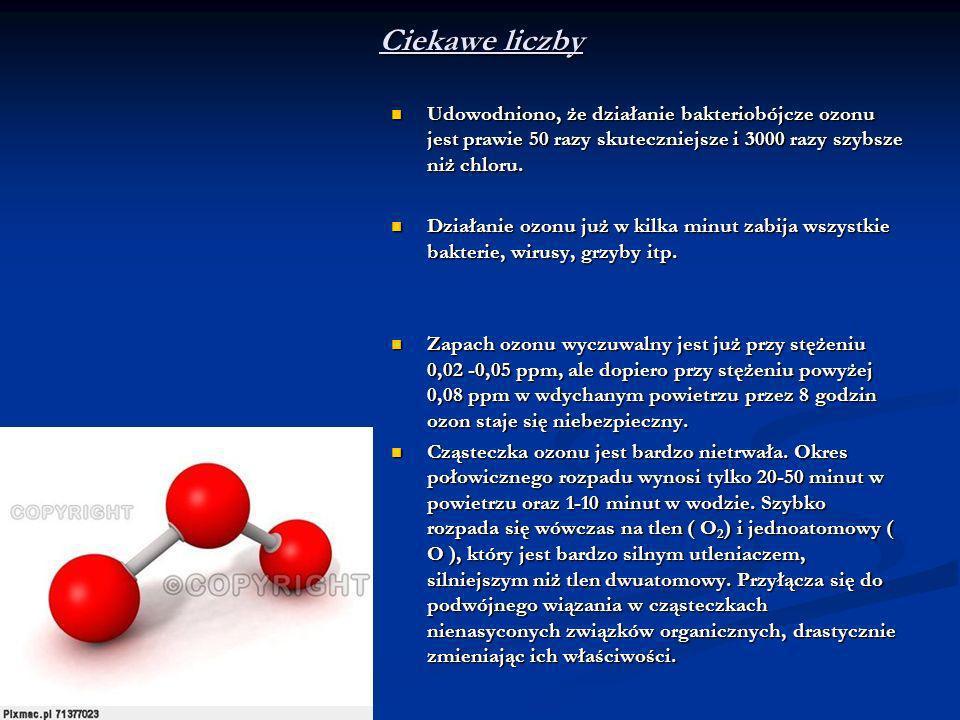 Ciekawe liczby Udowodniono, że działanie bakteriobójcze ozonu jest prawie 50 razy skuteczniejsze i 3000 razy szybsze niż chloru.