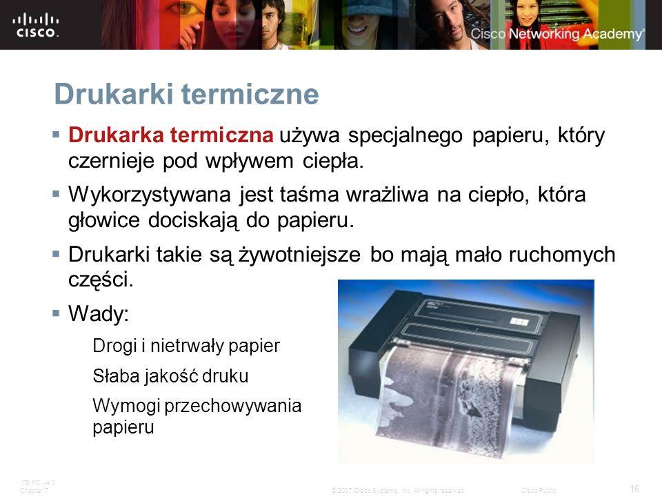 Drukarki termiczneDrukarka termiczna używa specjalnego papieru, który czernieje pod wpływem ciepła.