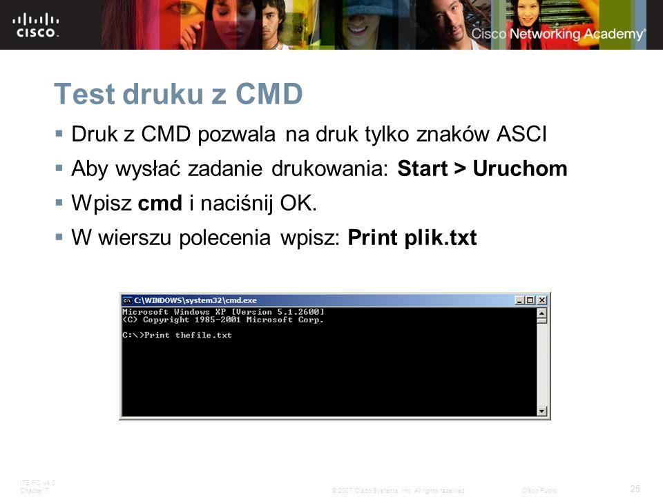 Test druku z CMD Druk z CMD pozwala na druk tylko znaków ASCI