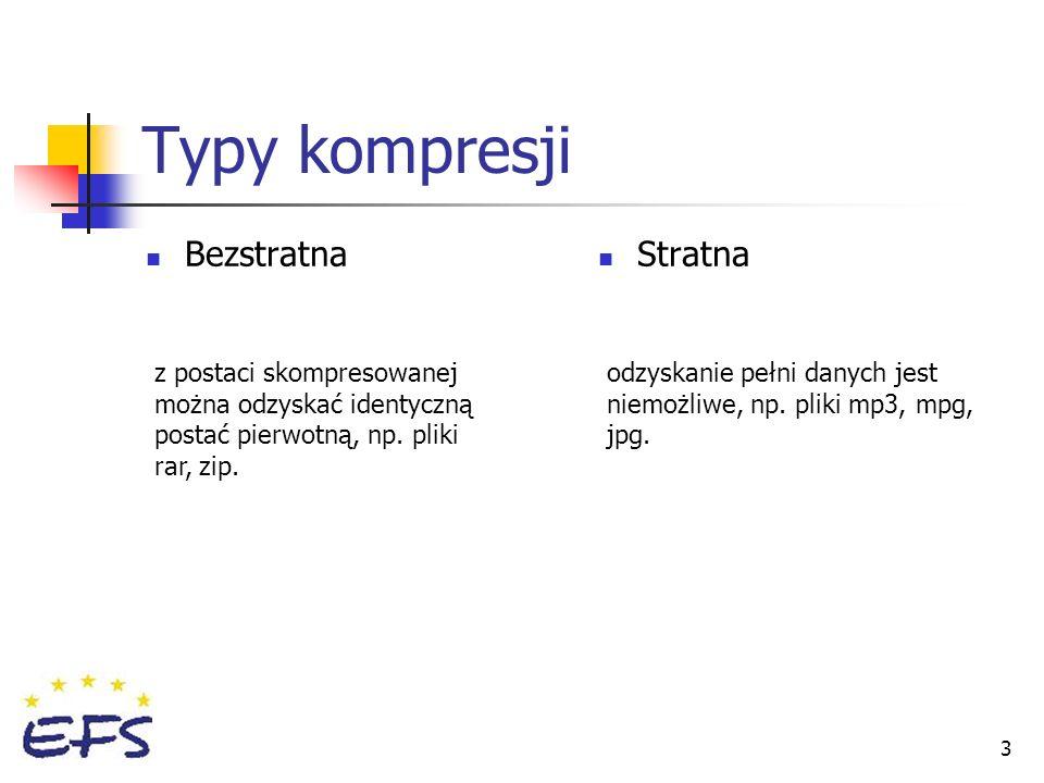 Typy kompresji Bezstratna Stratna