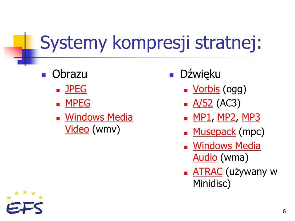 Systemy kompresji stratnej:
