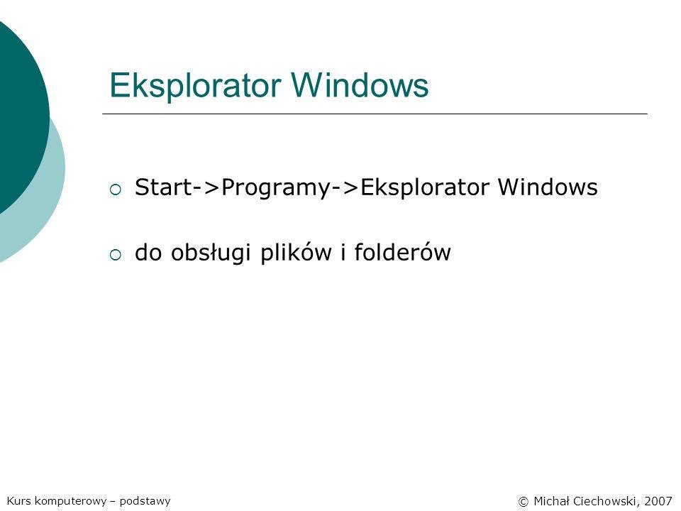 Eksplorator Windows Start->Programy->Eksplorator Windows