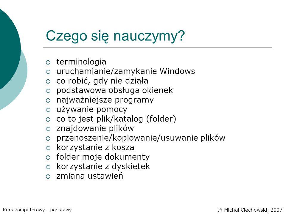 Czego się nauczymy terminologia uruchamianie/zamykanie Windows