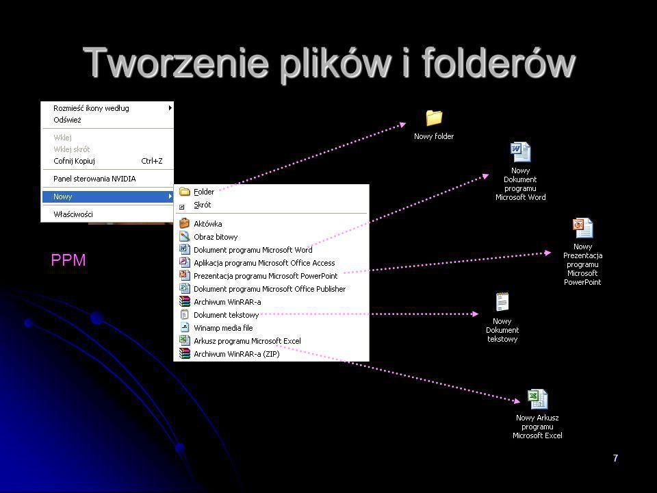 Tworzenie plików i folderów