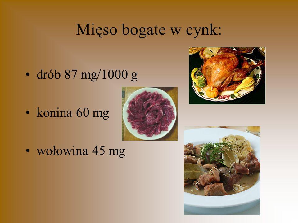 Mięso bogate w cynk: drób 87 mg/1000 g konina 60 mg wołowina 45 mg