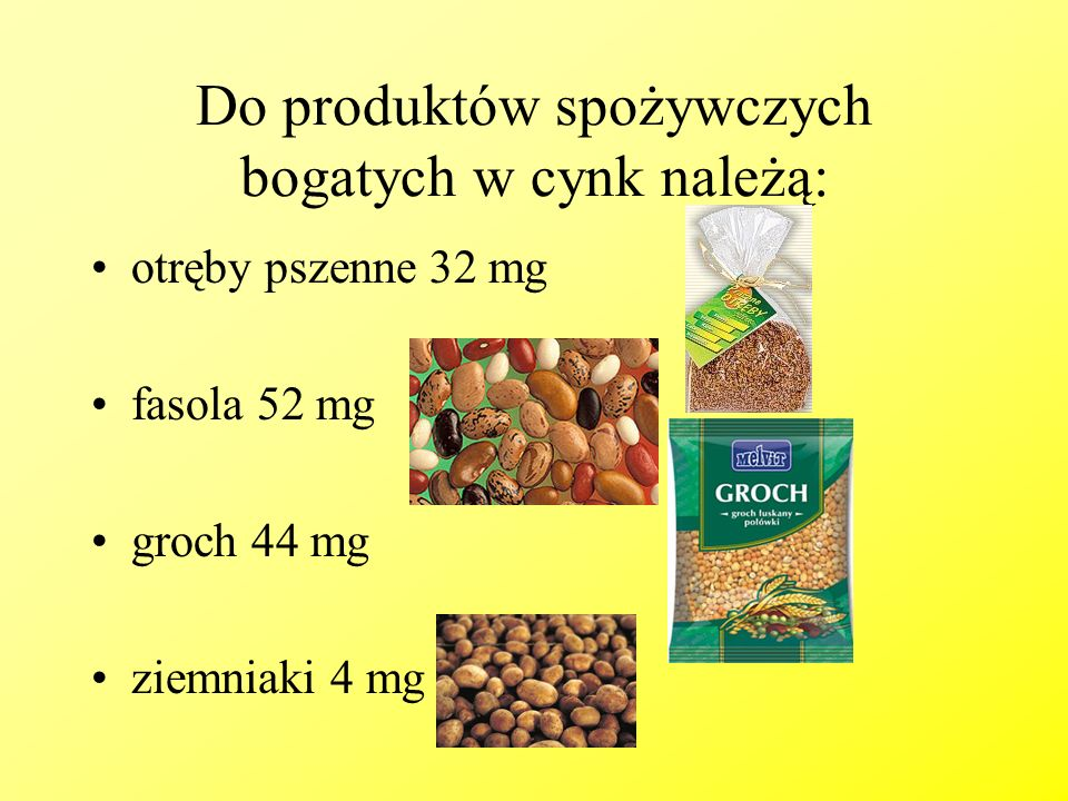 Do produktów spożywczych bogatych w cynk należą: