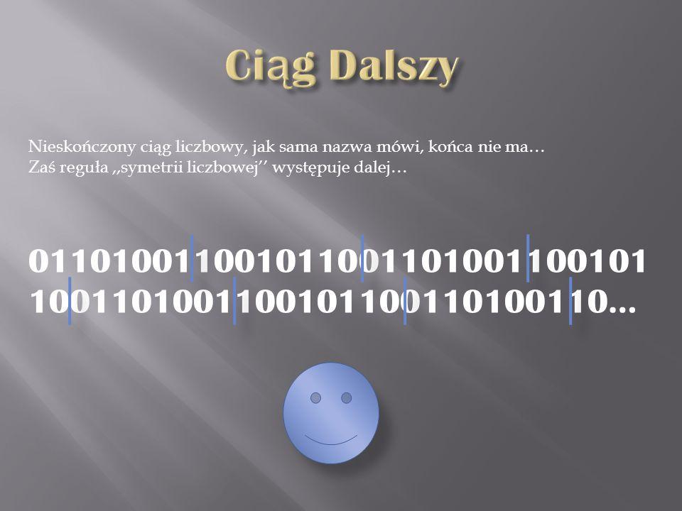 Ciąg Dalszy Nieskończony ciąg liczbowy, jak sama nazwa mówi, końca nie ma… Zaś reguła ,,symetrii liczbowej'' występuje dalej…